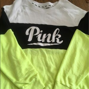 VS Pink colorblock Crew Pullover Large